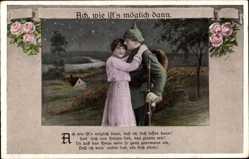 Postcard Ach wie ists möglich dann, Soldatenliebe, Liebespaar, Rosen
