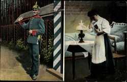 Postcard Soldatenliebe, Uniform, Pickelhelm, Die Glocke schlägt bald naht die Rund