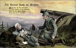 Postcard Die Sonne sank im Westen, Sag ihr ich wär geblieben, sterbender Soldat