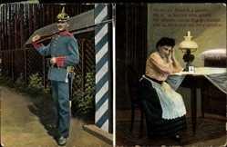 Postcard Als ich zur Fahne fort gemüsst hat sie so herzlich mich geküsst,Soldatenliebe
