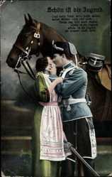 Postcard Schön ist die Jugend, Liebespaar, Husar, Pferd, Kuss
