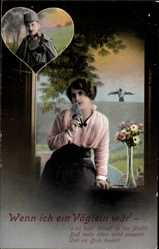 Postcard Wenn ich ein Vöglein wär, Soldatenliebe, Frau am Fenster mit Brief, Soldat