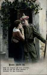 Postcard Heute scheide ich, still die Tränen lass mich scheiden, Soldatenliebe