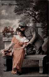 Postcard Eine Herzensfrage, Frau auf Bank sitzend, Mann will sie küssen