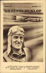 Postcard Gazette Dunlop, Malcolm Campbell, Englischer Automobilrennfahrer,Daytona 1931