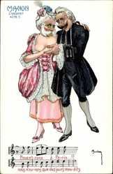 Künstler Ak Kaiser Kaiser Franz Joseph I und Kaiser Wilhelm II, Manon, Karikatur