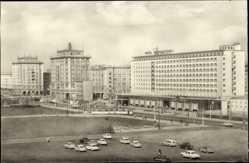 Postcard Magdeburg, Otto von Guericke Straße, Hotel International, Straßenbahn