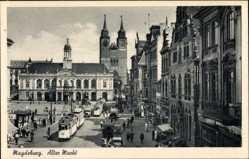Postcard Magdeburg in Sachsen Anhalt, Alter Markt, Straßenbahn 18 Linie 15