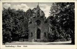 Postcard Stecklenburg Thale im Harz, Straßenpartie mit Blick auf die Kirche