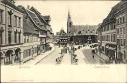 Ak Quedlinburg im Harz, Blick auf den Marktplatz, Kirche, Geschäfte