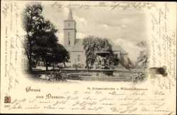 Postcard Dessau in Sachsen Anhalt, St. Johanniskirche und Wilhelmsbrunnen