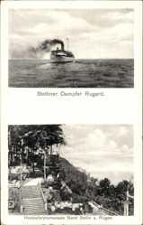 Postcard Ostseebad Sellin auf Rügen, Stettiner Dampfer Rugard, Hochuferpromenade