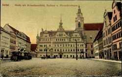 Postcard Zerbst in Anhalt, Markt mit Rolandstandbild, Rathaus und Nikolaikirchturm