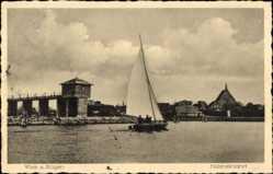 Ak Wiek auf der Insel Rügen, Kinderheim, Segelboot am Hafen