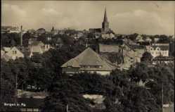 Postcard Bergen auf der Insel Rügen, Blick über die Dächer der Stadt