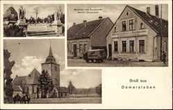 Postcard Domersleben Wanzleben Börde, Bäckerei Werner Rockmann, Kirche