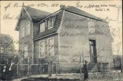 Postcard Sanitz in Mecklenburg, Hausansicht, Kaffee Ehlert