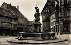 Postcard Nordhausen an der Zorge Thüringen, Neptun Brunnen am Kornmarkt