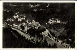 Postcard Schierke Wernigerode am Harz, Das Haus Brocken Scheideck, Fliegeraufnahme