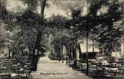 Postcard Magdeburg in Sachsen Anhalt, Gasthaus, Salzquelle, Garten