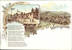 Gedicht Litho Wernigerode am Harz,Kramershöhe zur schönen Aussicht, Berge, Stadt