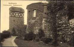 Postcard Nordhausen, Primariusgraben, Stadtmauer, Fachwerk, Mauerwerk, Straßenpartie