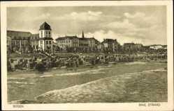 Postcard Binz auf Rügen, Stadtansicht, Turm, Meer, Strand, Wellen, Körbe