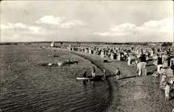Postcard Barleben in Sachsen Anhalt, Strand, Meer, Körbe, Besucher, Boote