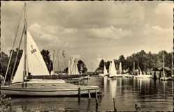Ak Luftkurort Plau am See, Am Seglerheim, Segelschiffe, Balken