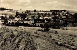 Ak Kemtau Eibenberg Burkhardtsdorf Erzgebirge, Bauern bei Feldarbeit
