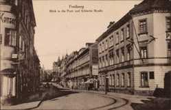 Postcard Freiberg im Kreis Mittelsachsen, Blick in die Poststraße und Erbische Straße
