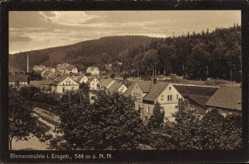 Postcard Rechenberg Bienenmühle Erzgebirge, Blick auf den Ort, Bahnschienen