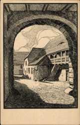 Künstler Ak Blossfeld, Karl, Bernburg an der Saale Salzlandkreis, Alter Hof