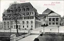 Postcard Bad Elster im Vogtland, Blick auf neues Kurtheater mit Sachsenhof