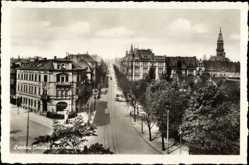 Postcard Zwickau in Sachsen, Blick in die Bahnhofstraße, Kirche im Hintergrund