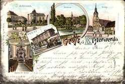Litho Elsterwerda in Brandenburg, Kirche, Seminar, Denkmalsplatz, Bahnhof