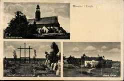 Postcard Dörnthal Pfaffroda Erzgebirge, Alte Wehrkirche, Schule, Friedhof