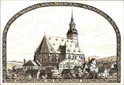 Künstler Ak Major, A., Schneeberg Neustädtel, St. Wolfgang Kirche, Bürgerschule