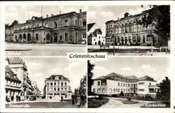 Postcard Crimmitschau in Sachsen, Bahnhof, Kreistheater, Thiemestraße, Krankenhaus