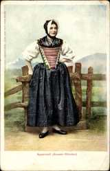 Postcard Kanton Appenzell Außerrhoden Schweiz, Frau in Nationaltracht