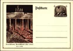 Ganzsachen Ak Berlin, Brandenburger Tor, 30 01 1933, Machtergreifung