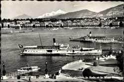 Postcard Genève Genf Stadt, La Rade et le Mont Blanc, Salondampfer Evian und Montreux