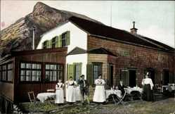 Postcard Ramsau Oberbayern, Müncherhaus am Watzmann, Anwohner in Tracht