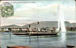 Postcard Genève Genf Stadt, Jet d'Eau, Salondampfer Aigle, Blick auf den Ort