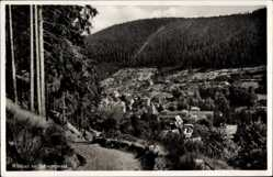 Postcard Bad Wildbad im Kreis Calw, Blick vom Feldweg auf den Ort