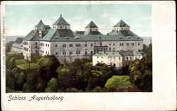 Ak Augustusburg im Erzgebirge, Blick auf das Schloss, Türme