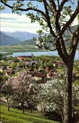 Postcard Tegernsee im Kreis Miesbach Oberbayern, Blick auf den Ort gegen Blauberge