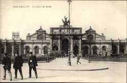 Postcard Bruxelles Brüssel, La Gare du Midi, Straßenbahn am Bahnhof