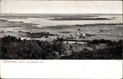 Postcard Bernau im Kreis Rosenheim Oberbayern, Blick auf den Chiemsee, Felder