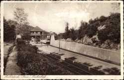Postcard Bildstock Friedrichsthal, Partie am Bahnhof, Gleisseite
